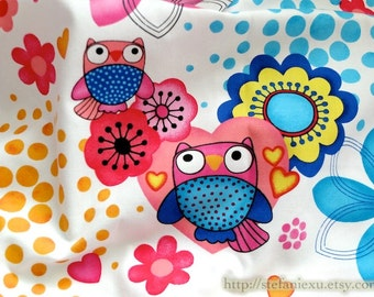 SALE CLEARANCE - 1 Yard Owl Hoot Collection, Shabby Chic Colorful Floral Hearts Owl - THICK Cotton Fabric