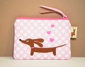 Dachshund Wiener Dog Coin Purse - Love a Doxie Pink Polka Dot - Valentine Womens Accessory