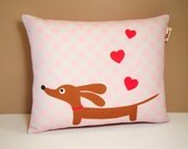 Dachshund Wiener Dog Pillow - Love a Doxie Valentine Red Hearts - Polka Dot Valentine Pillow Pink Gray Red