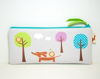 Dachshund Wiener Dog Pencil Case - Doxie and Owls in the Polka Dot Forest - Gray Trees Accessory Purse