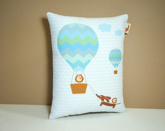 Doxie Dachshund Pillow - Doxie and Owls Hot Air Balloon Ride - Whimsical Dog Decor Nursery Aqua Blue