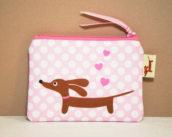 Dachshund Wiener Dog Coin Purse - Love a Doxie Pink Polka Dot - Valentine Womens Accessory