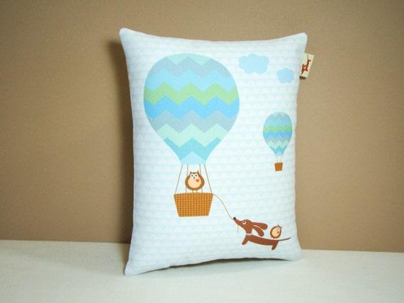 Doxie Dachshund Pillow - Doxie and Owls Hot Air Balloon Ride - Whimsical Dog Decor Nursery Aqua Blue