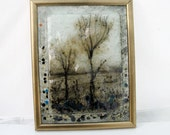 Landscape painting,  Fused glass painting  Autumn trees  by virtulyglass