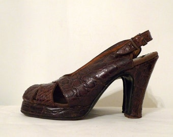 Vintage 1940s Platform Shoes in Faux Croc Pattern on sale