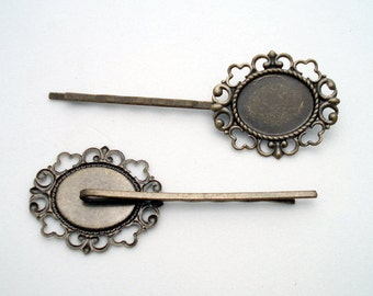 6 Piece Craft Lot BOBBY PINS 19x14mm Bezel Setting Antique Brass