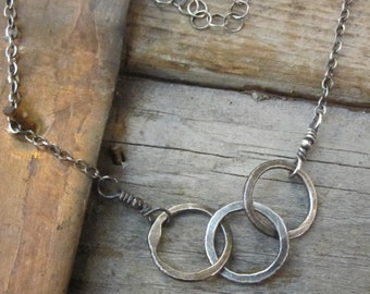 Three Ring Circus Oxidized Sterling Silver Necklace