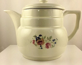 Vintage Hall China Drip-O-Lator Coffee Pot Floral Pattern - The Enterprise Aluminum Co.