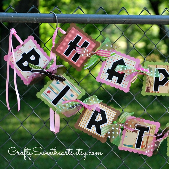 Little Girl Happy Birthday Banner Camping By Craftysweethearts