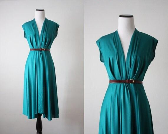 vintage 1970's teal wrap dress