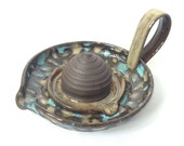 Yellow Turquoise Floral Citrus Orange Pottery Juicer