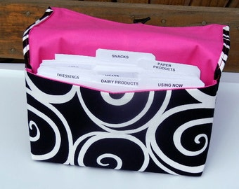 Coupon Organizer Cash Budget Organizer Holder- Attaches to your Shopping Cart - Black with White Swirls
