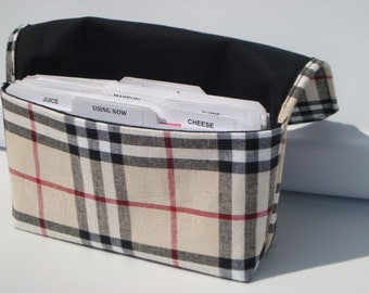 Fabric Coupon Organizer Holder /Budget Organizer Holder Wallet -Tartan Plaid Lattice / Black, Tan, Red Plaid