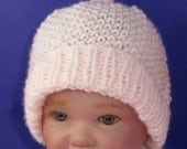 Digital file pdf download knitting patten  - Baby Moss Stitch Topknot Beanie Hat pdf knitting pattern