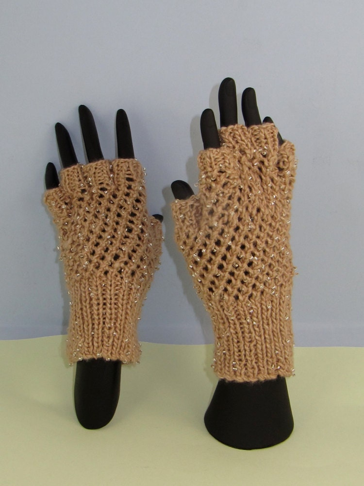 Knitting Pattern For Short Finger Gloves : SALE Instant Digital File pdf download knitting pattern - Beaded Easy Lace Sh...