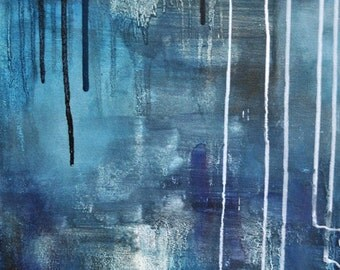Blue Rain 2 Original abstract modern painting 18x12 inch