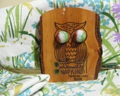Vintage OWL Napkin Holder Wood with Marble Eyes Souvenir Timberline Lodge Oregon, Camp, Wooden Kitsch