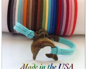 Dolphin Bracelet, Suede Leather Dolphin Bracelet