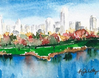 SALE ACEO original watercolor painting - Fall New York City Free Shipping