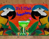 It's 5 O'Clock Somewhere Parrot heads Cocktail Comfort Foam Bar Floor Mat. Available in 3 sizes