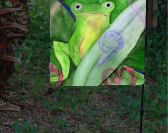 Tree Frog Garden Flag from art. Available in 2 sizes