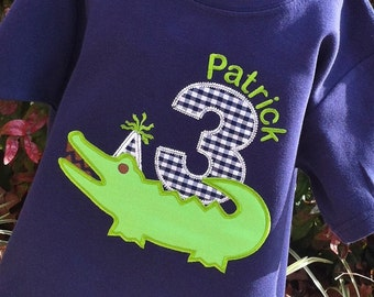 Boys Birthday Appliqued Alligator on Navy