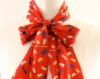 1980s Echo Red Printed Scarf
