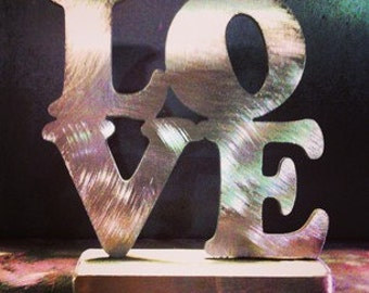 LOVE  sculpture in stainless steel