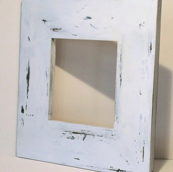 Painted Wood White Distressed Frame Custom Shabby Chic Farmhouse Cottage