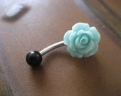 Belly Button Ring Jewelry, Sea Foam Rose Belly Button Ring- Pastel Minty Mint Green Flower Navel Stud Jewelry Barbell Piercing Belly Button