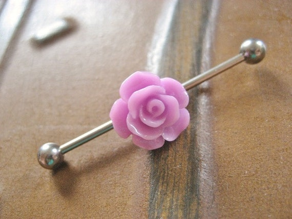 items similar to industrial barbell 14g earring lavender