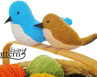 INSTANT DOWNLOAD - Upcycled Sweater Birds - PDF Sewing Pattern