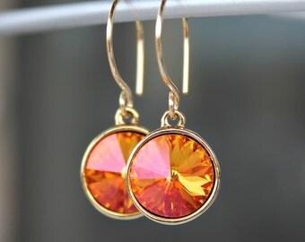 Vibrant Summer's Blush Swarovski Crystal and Gold Filled Dangle Earrings