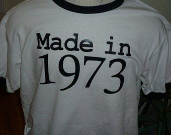 vintage 1973 adult 40th birthday ringer shirt upto size 2X