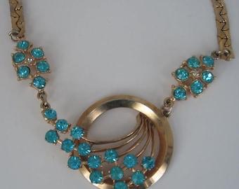Vintage Blue Rhinestone Gold Circle Necklace