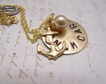Friendship Necklace with Anchor Charm... Soul Friend Necklace... Anam Cara in antique brass
