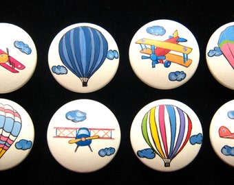 8 Hot Air Balloons/Vintage Airplanes Drawer Knobs