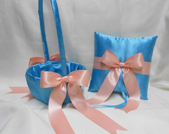 Weddings Accessories Turquoise Peach Flower Girl Basket Ring Bearer Pillow Your Colors