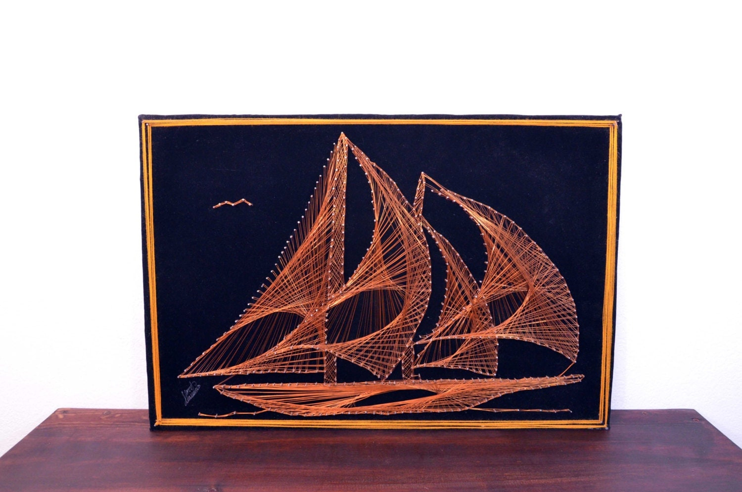 Vintage copper wire and pin ship wall art retro nautical art for Retro wall art