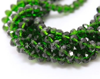 """Emerald Green Faceted crystal roundel beads 4x6 mm 15"""" strand"""