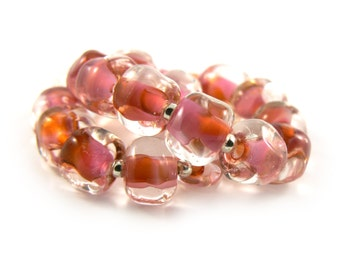 Sweet Heart Pink Pebble Lampwork Bead Set - Handmade Lampwork Beads - Set of 20 beads - Sweet, Romantic, Pink, Nugget, Orange - MadeByFire