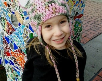 Pink Cammo Crochet Cat Hat, YOUTH size, 18-19 inches