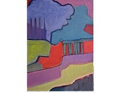 Springtime in Paris Lively Landscape Painting Mid Century Modern, Abstract Art, Red Purple Painting by Will Wieber