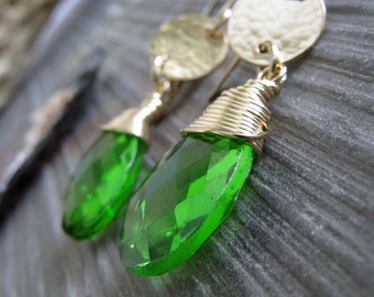 Gemstone earrings.  Peridot quartz briolettes with 14k gold filled.  Green gems. Classic jewelry for her. Gift under 60.  Womens jewelry