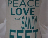 pillow cover peace love and sandy feet