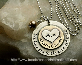 NEW We Love You To The Moon and Back Infinity & Beyond Mom in Sterling Silver and Brass w/ Heart Stacked on Top Hand Stamped Necklace