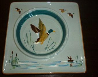 SALE Huge Vintage STANGL Pottery Mallard Ashtray, Sportsman, Hunter