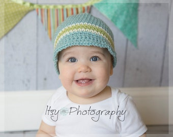 ON SALE, Baby Visor Beanie, Baby Hat, Baby Crochet Hat