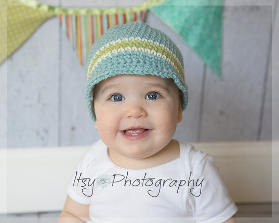 ON SALE, Baby Visor Beanie, Baby Hat, Baby Crochet Hat
