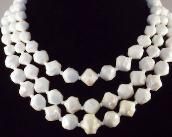 West Germany White Free Form Bead Necklace AB Coating 3 Strands Sale